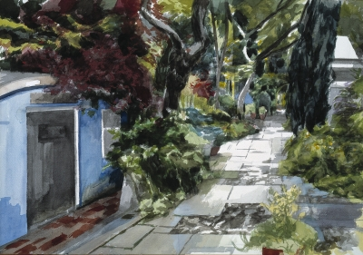 Stuart Denyer, Towards the front door - westwards along the terrace